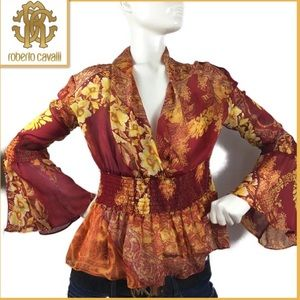 ROBERTO CAVALLI long sleeve sheer blouse